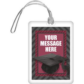 Burgundy Caps Off Graduation Personalized Bag Tag (Each)