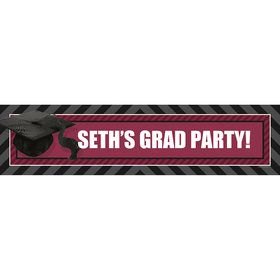 Burgundy Caps Off Graduation Personalized Banner (Each)