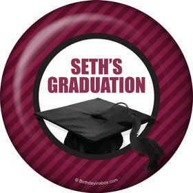 Burgundy Caps Off Graduation Personalized Button (Each)