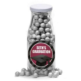 Burgundy Caps Off Graduation Personalized Glass Milk Bottles (10 Count)