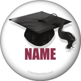 Burgundy Caps Off Graduation Personalized Mini Magnet (Each)