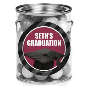 Burgundy Caps Off Graduation Personalized Mini Paint Cans (12 Count)