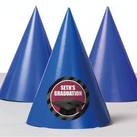 Burgundy Caps Off Graduation Personalized Party Hats (8 Count)