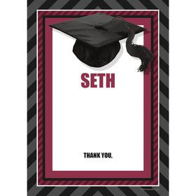 Burgundy Caps Off Graduation Personalized Thank You (Each)