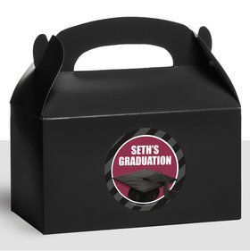 Burgundy Caps Off Graduation Personalized Treat Favor Boxes (12 Count)