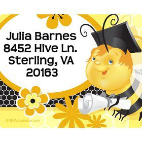 Busy Bee Grad Personalized Address Labels (Sheet of 15)