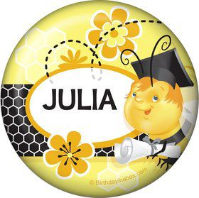 Busy Bee Grad Personalized Button (Each)