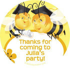 Busy Bee Grad Personalized Stickers (Sheet of 12)