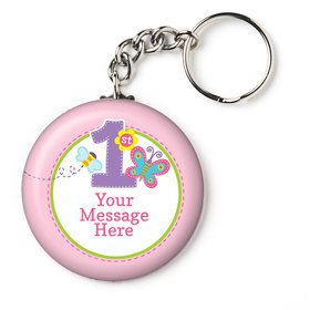"Butterfly 1st Birthday Personalized 2.25"" Key Chain (Each)"