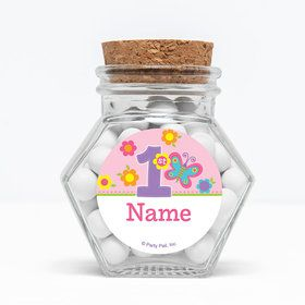 "Butterfly 1st Birthday Personalized 3"" Glass Hexagon Jars (Set of 12)"