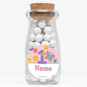 "Butterfly 1st Birthday Personalized 4"" Glass Milk Jars (Set of 12)"