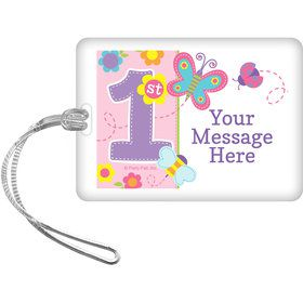 Butterfly 1st Birthday Personalized Bag Tag (Each)