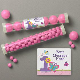 Butterfly 1st Birthday Personalized Candy Tubes (12 Count)