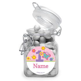 Butterfly 1st Birthday Personalized Glass Apothecary Jars (10 Count)