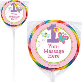 Butterfly 1st Birthday Personalized Lollipops (12 Pack)