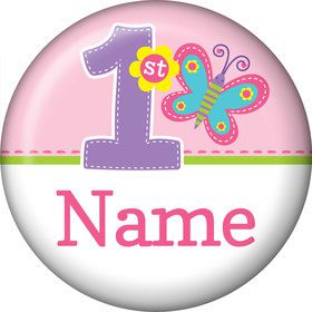 Butterfly 1st Birthday Personalized Mini Button (Each)