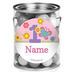 Butterfly 1st Birthday Personalized Mini Paint Cans (12 Count)