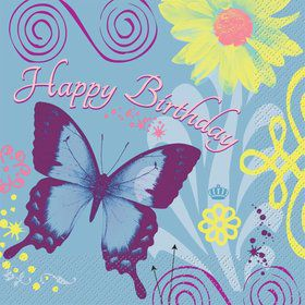 Butterfly Birthday Luncheon Napkins (16-pack)