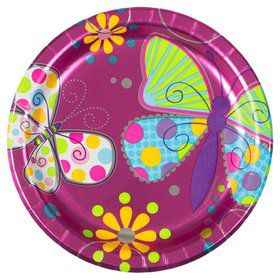 "Butterfly Sparkle 7"" Metallic Cake Plates (8 Pack)"