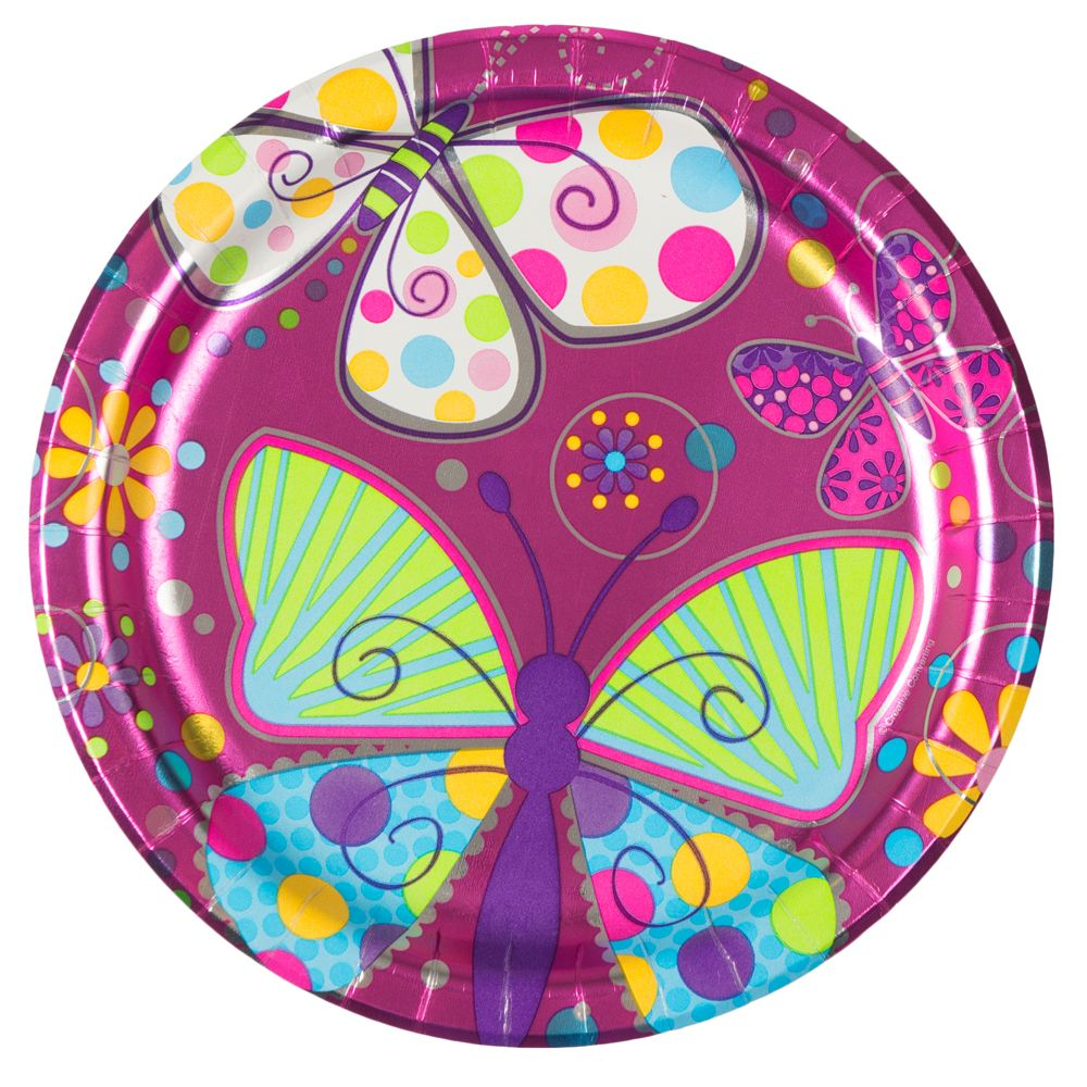"Butterfly Sparkle 9"" Metallic Luncheon Plates (8 Pack) BB425691"
