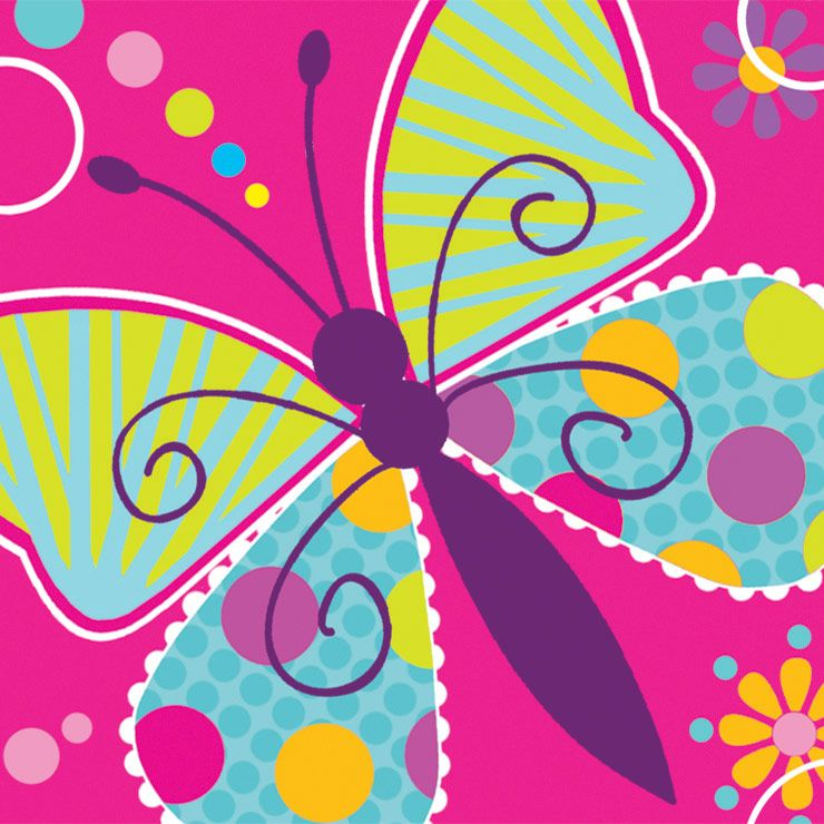 Butterfly Sparkle Beverage Napkins (16 Pack) - Party Supplies BB655691