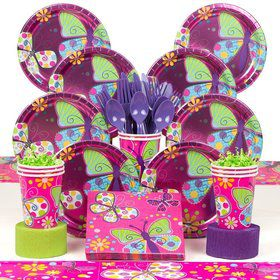 Butterfly Sparkle Birthday Party Deluxe Tableware Kit Serves 8