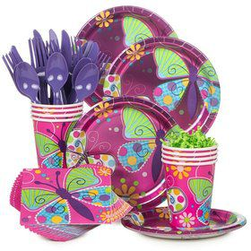 Butterfly Sparkle Birthday Party Standard Tableware Kit Serves 8