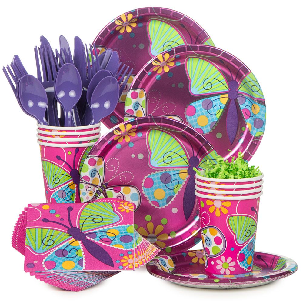 Butterfly Birthday Party Supplies Tableware Kit Serves 8 BBKIT681