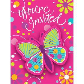 Butterfly Sparkle Invitations (8 Pack)