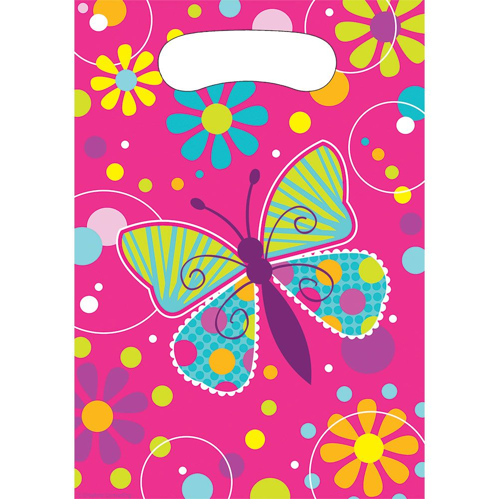 Butterfly Sparkle Loot Favor Bags (8 Pack) - Party Supplies BB085691