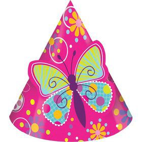 Butterfly Sparkle Party Hats w/ Popout Butterfly (8 Pack)