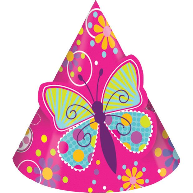 Butterfly Sparkle Party Supplies Hats w/ Popout Butterfly (8 Pack) BB205691