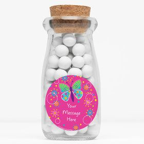 """Butterfly Sparkle Personalized 4"""" Glass Milk Jars (Set of 12)"""
