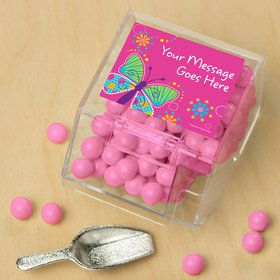 Butterfly Sparkle Personalized Candy Bin with Candy Scoop (10 Count)