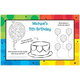 Cake Celebration Personalized Activity Mats (8-Pack)