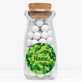 """Camouflage Personalized 4"""" Glass Milk Jars (Set of 12)"""