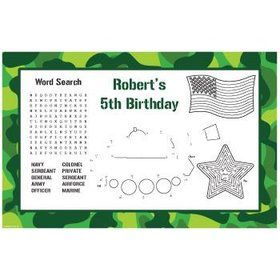 Camouflage Personalized Activity Mats (8-pack)