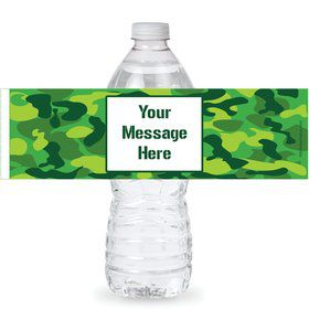 Camouflage Personalized Bottle Labels (Sheet of 4)
