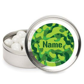 Camouflage Personalized Candy Tins (12 Pack)