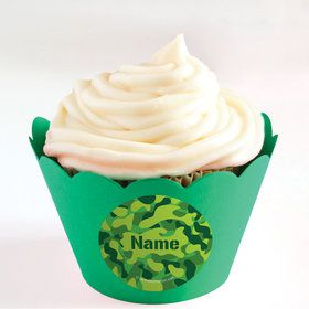Camouflage Personalized Cupcake Wrappers (Set of 24)