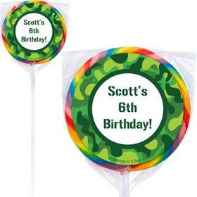 Camouflage Personalized Lollipops (pack of 12)