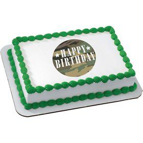 Camouflage Quarter Sheet Edible Cake Topper (Each)