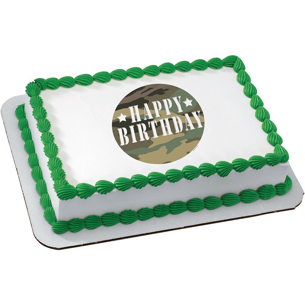 Pleasing Camouflage Quarter Sheet Edible Cake Topper Cooking Kits Party Personalised Birthday Cards Paralily Jamesorg