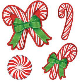 Candy Cane Glitter Paper Cutout Assortment (20 Pack)