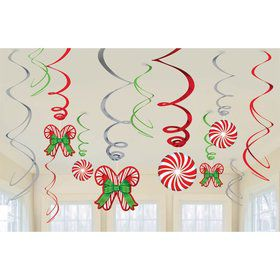 Candy Cane Hanging Foil Swirl Decorations (12 Pack)