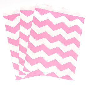 Candy Pink Chevron Paper Treat Bags (10)