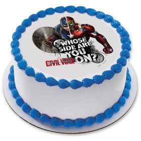 "Captain America 7.5"" Round Edible Cake Topper (Each)"