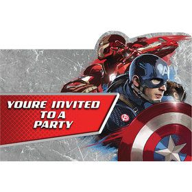 Captain America Birthday Party Invitations (8 Count)