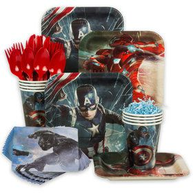 Captain America Birthday Party Standard Tableware Kit (Serves 8)