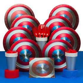 Captain America Shield Birthday Party Deluxe Tableware Kit (Serves 60)